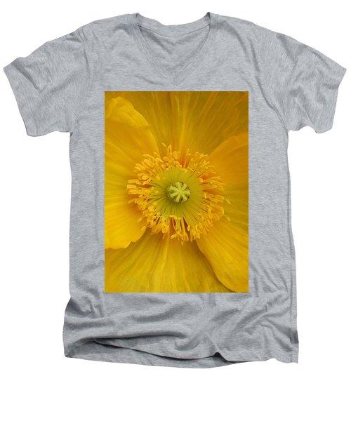 Yellow Poppy Flower Center Men's V-Neck T-Shirt