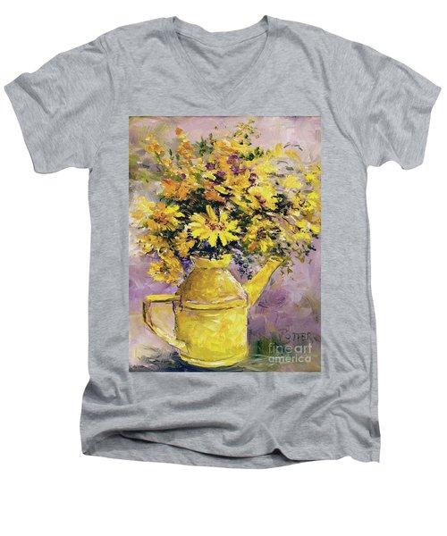 Yellow Pot Of Sunshine Men's V-Neck T-Shirt
