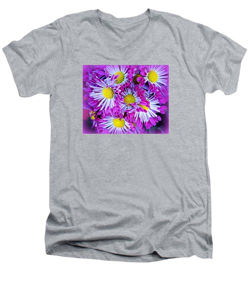 Men's V-Neck T-Shirt featuring the photograph Yellow Purple And White by AJ  Schibig