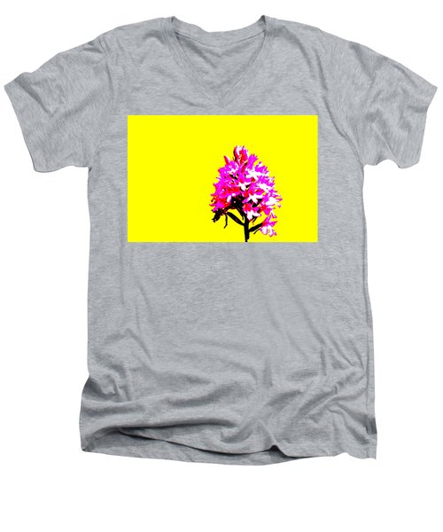 Yellow Pyramid Orchid Men's V-Neck T-Shirt