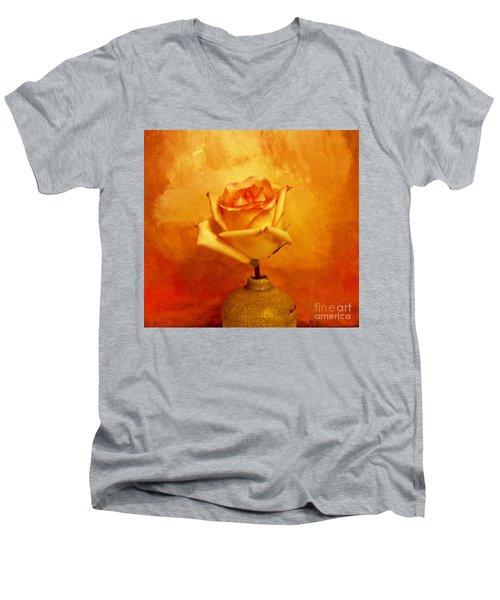 Yellow Red Orange Tipped Rose Men's V-Neck T-Shirt by Marsha Heiken