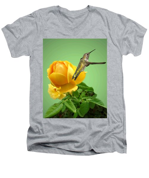 Yellow Rose And Hummingbird 2 Men's V-Neck T-Shirt by Joyce Dickens