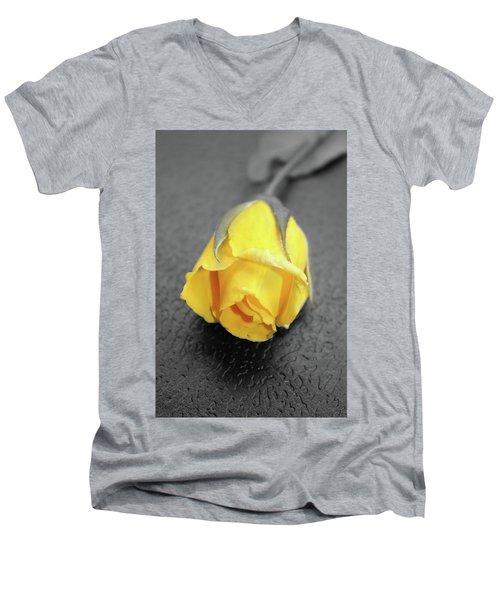 Yellow Rose Men's V-Neck T-Shirt by Angel Jesus De la Fuente