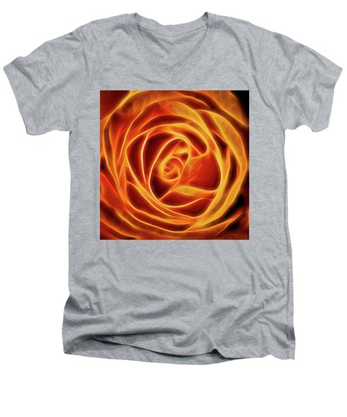 Men's V-Neck T-Shirt featuring the photograph Yellow Rose Glow Square by Terry DeLuco