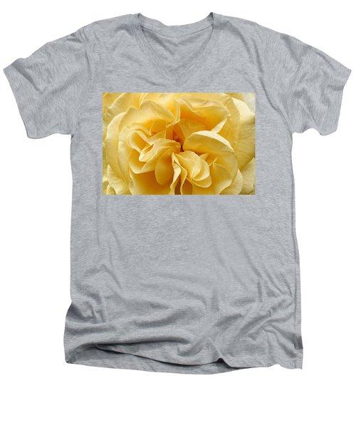 Yellow Ruffles - Rose Men's V-Neck T-Shirt