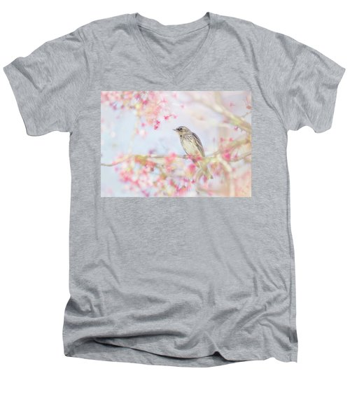 Yellow-rumped Warbler In Spring Blossoms Men's V-Neck T-Shirt
