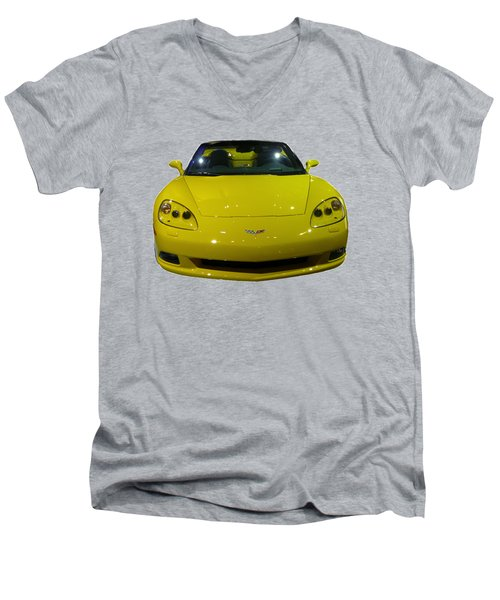 Yellow Sports Car Front Men's V-Neck T-Shirt