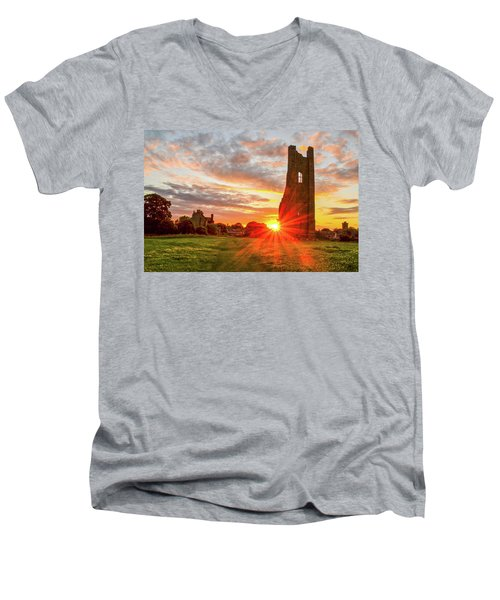 Yellow Steeple Star Men's V-Neck T-Shirt