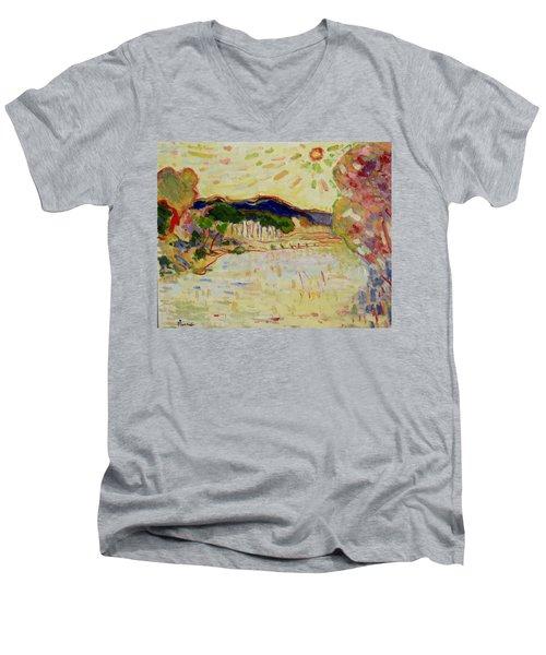 Beynac Et Cazenac , Dordogne , Yellow Sunshine  Men's V-Neck T-Shirt