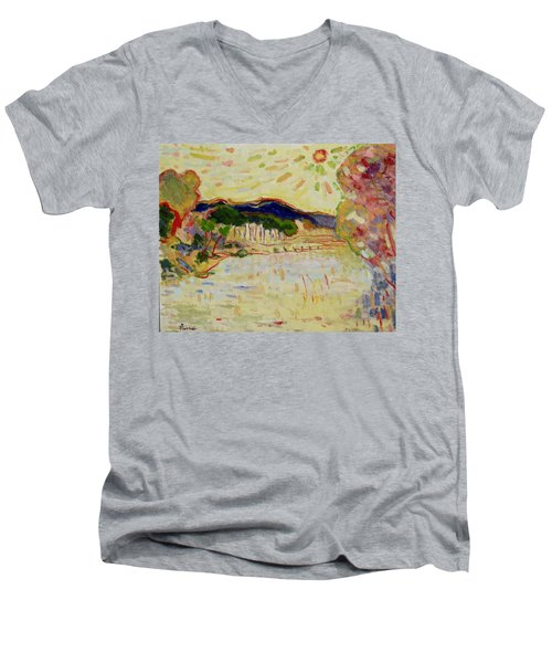 Beynac Et Cazenac , Dordogne , Yellow Sunshine  Men's V-Neck T-Shirt