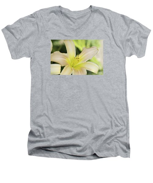 Yellow Tan Lily 1 Men's V-Neck T-Shirt