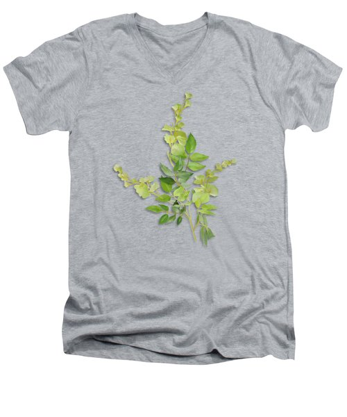 Men's V-Neck T-Shirt featuring the painting Yellow Tiny Flowers by Ivana Westin