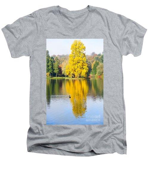 Yellow Tree Reflection Men's V-Neck T-Shirt