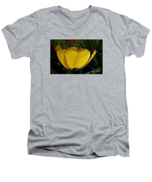 Yellow Tulip 2 Men's V-Neck T-Shirt by Jean Bernard Roussilhe