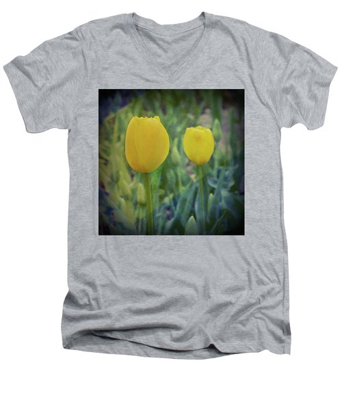 Yellow Tulip Art Men's V-Neck T-Shirt