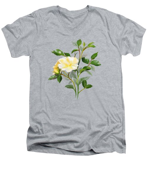Men's V-Neck T-Shirt featuring the painting Yellow Watercolor Rose by Ivana Westin