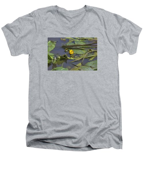 Men's V-Neck T-Shirt featuring the photograph Yellow Waterlilly 2015 by Leif Sohlman