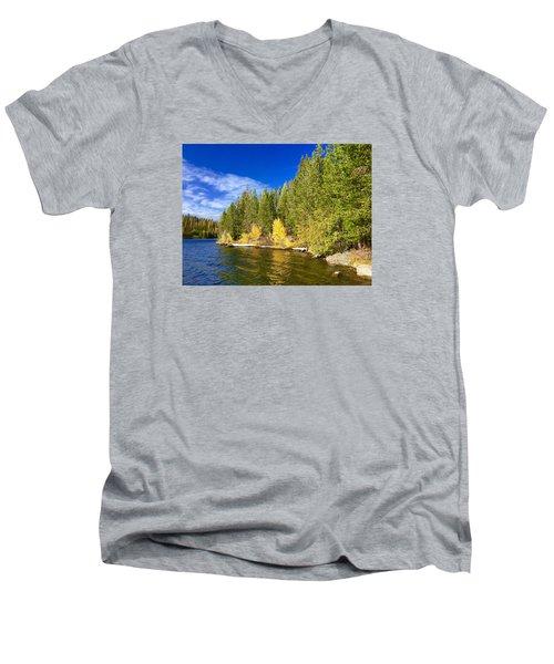 Golden Waters Men's V-Neck T-Shirt by Jennifer Lake