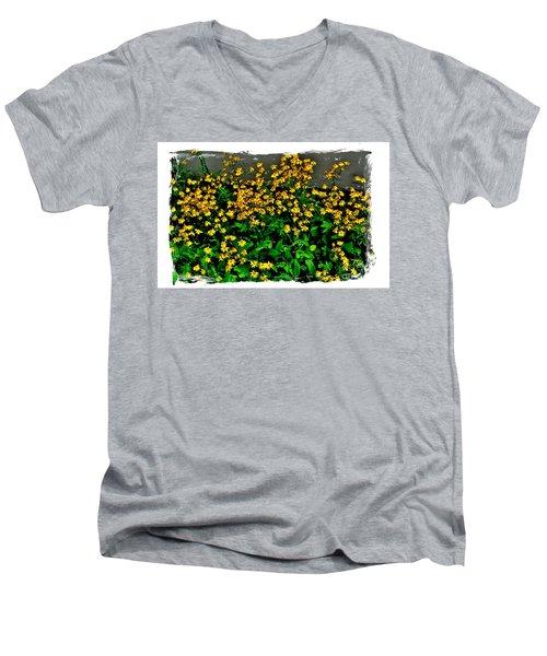 Yellow Wildflowers Men's V-Neck T-Shirt by Marsha Heiken