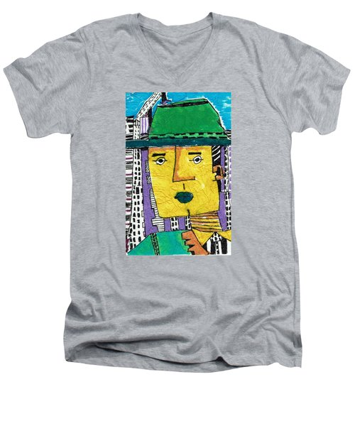Men's V-Neck T-Shirt featuring the tapestry - textile Yellowman by Don Koester