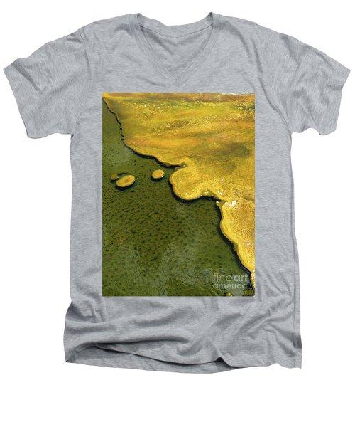 Men's V-Neck T-Shirt featuring the photograph Yellowstone Art. Yellow And Green by Ausra Huntington nee Paulauskaite