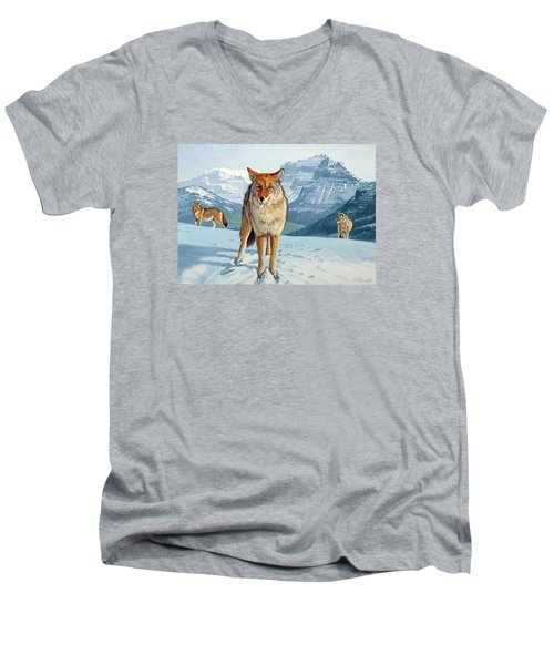 Yellowstone Coyotes Men's V-Neck T-Shirt by Paul Krapf