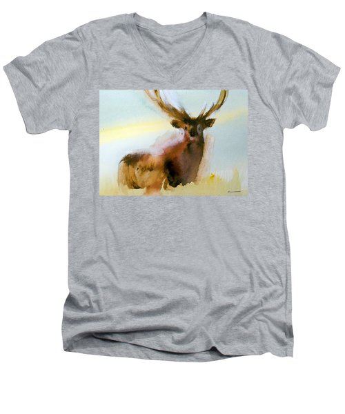 Men's V-Neck T-Shirt featuring the painting Yellowstone  Elk by Ed Heaton