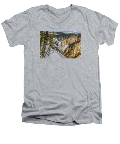Yellowstone Falls In Winter Snow Men's V-Neck T-Shirt by Yeates Photography