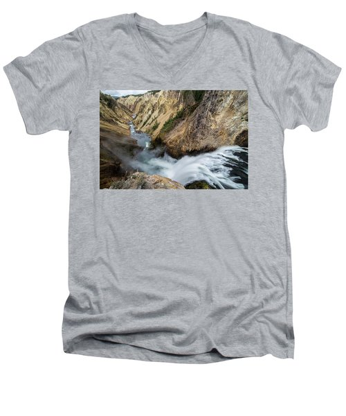 Men's V-Neck T-Shirt featuring the photograph Yellowstone Falls by Wesley Aston