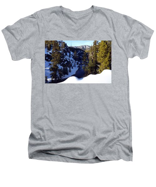 Yellowstone In Winter Men's V-Neck T-Shirt by C Sitton