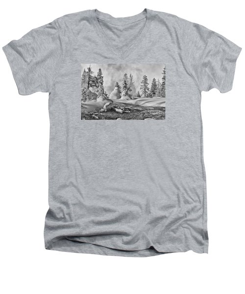 Yellowstone In Winter Men's V-Neck T-Shirt by Gary Lengyel