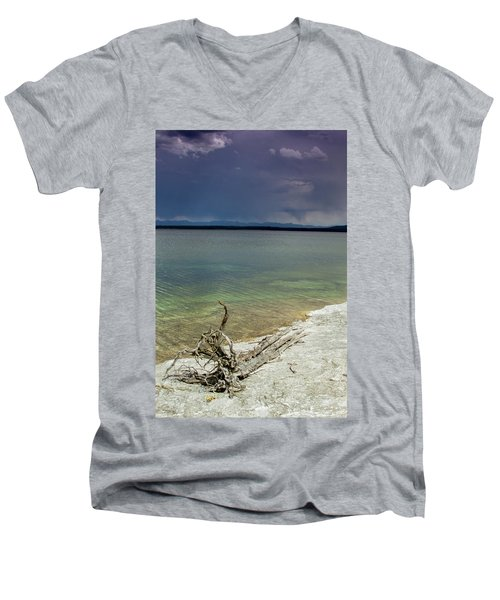 Men's V-Neck T-Shirt featuring the photograph Yellowstone Lake by Dawn Romine