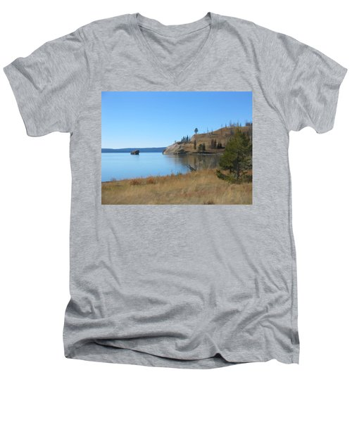 Men's V-Neck T-Shirt featuring the digital art Yellowstone Lake Se by Gary Baird
