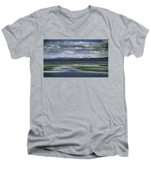 Men's V-Neck T-Shirt featuring the photograph Yellowstone Mountain Scape by Jason Moynihan