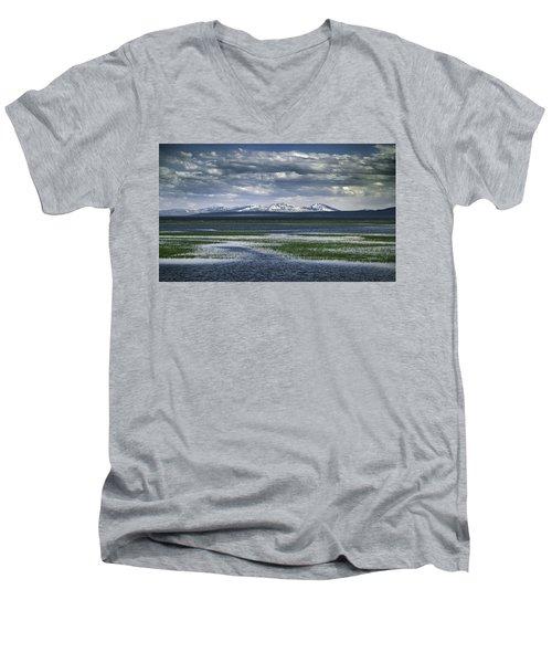 Yellowstone Mountain Scape Men's V-Neck T-Shirt by Jason Moynihan