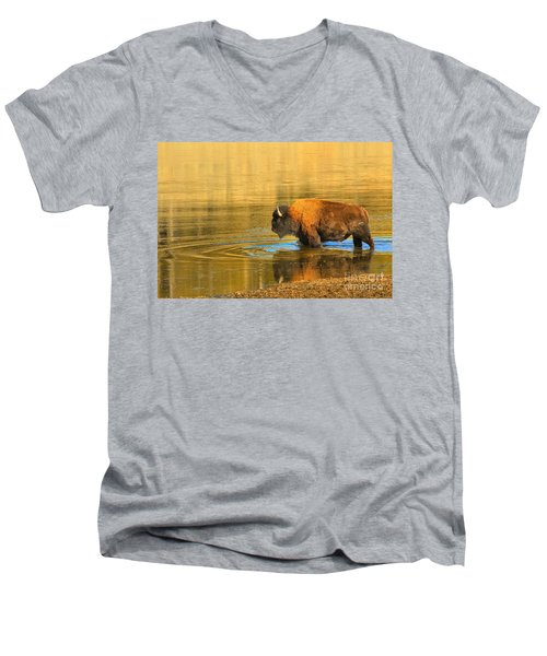Men's V-Neck T-Shirt featuring the photograph Yellowstone Solo Swimmer by Adam Jewell