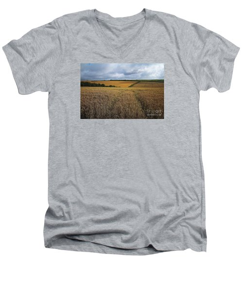 Men's V-Neck T-Shirt featuring the photograph Yelow Fields And Fluffy Clouds  by Gary Bridger