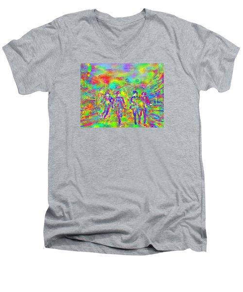 Yesterday Men's V-Neck T-Shirt by Dave Luebbert