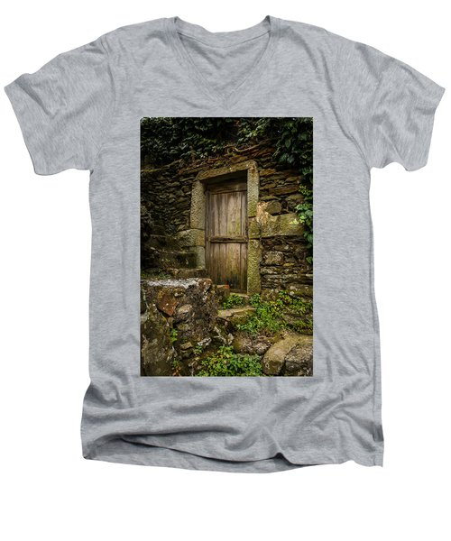 Men's V-Neck T-Shirt featuring the photograph Yesterday's Garden Door by Kathleen Scanlan