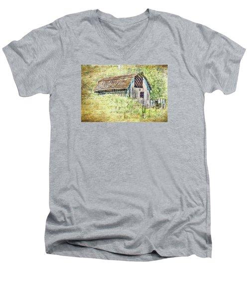 Men's V-Neck T-Shirt featuring the photograph Yesteryear Barn by Jean OKeeffe Macro Abundance Art