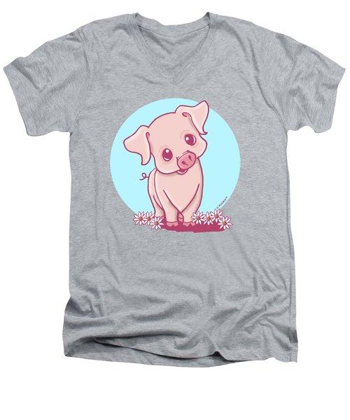 Yittle Piggy Men's V-Neck T-Shirt by Kim Niles
