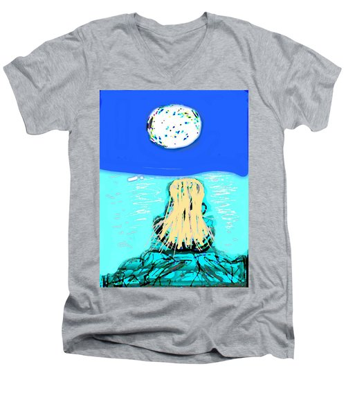 Yoga By The Sea Under The Moon Men's V-Neck T-Shirt