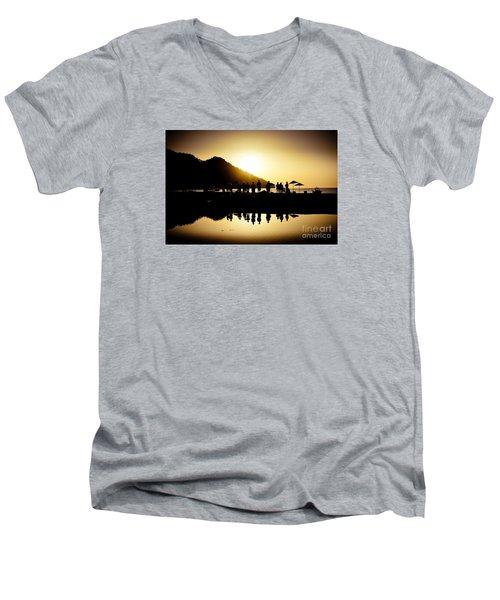 Yoga Sunrise At Sea Coast Men's V-Neck T-Shirt