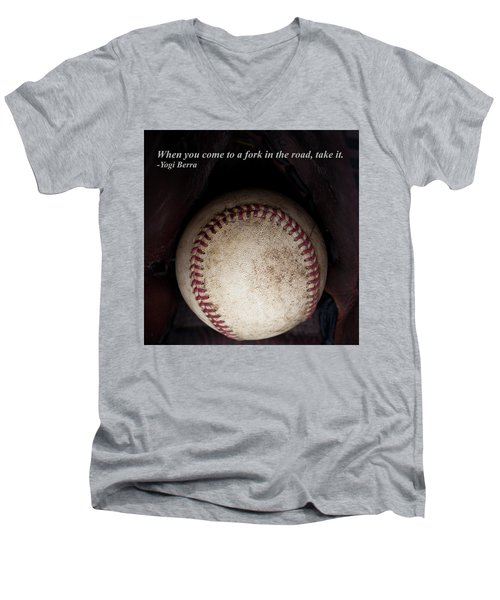Yogi Berra Quote Men's V-Neck T-Shirt by David Patterson