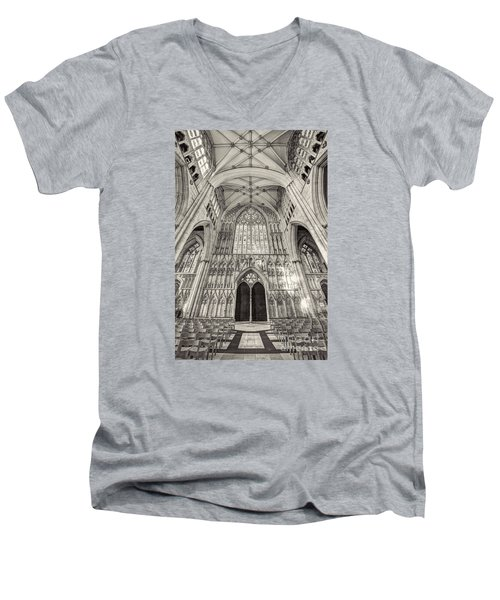 Men's V-Neck T-Shirt featuring the photograph York Minster Uk by Jack Torcello
