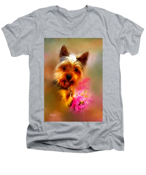 Yorkie Portrait Men's V-Neck T-Shirt
