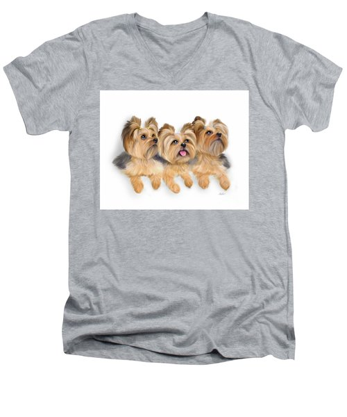Yorkie Trio Men's V-Neck T-Shirt