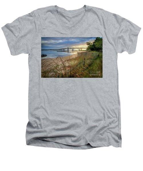 Yorktown Beach Sunrise Virginia Men's V-Neck T-Shirt