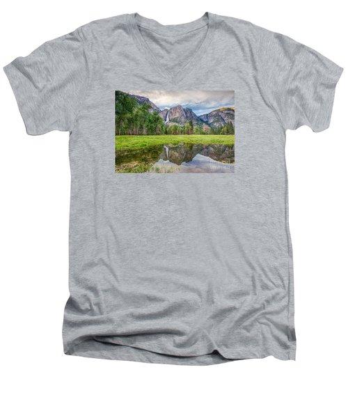 Yosemite Falls And Reflections 2 Men's V-Neck T-Shirt