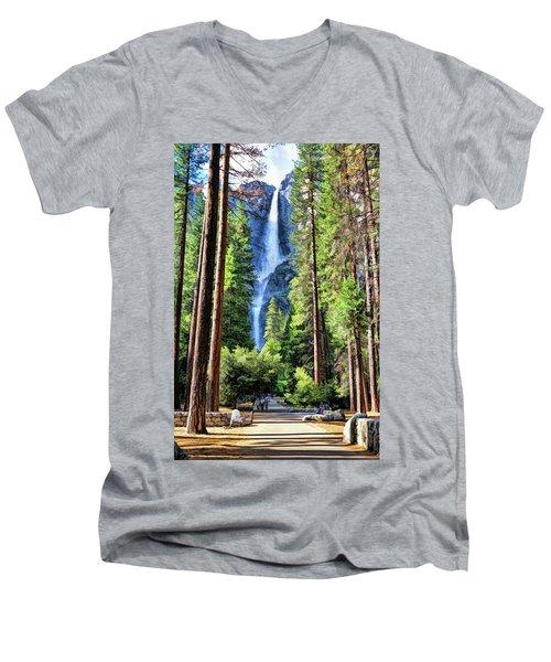 Yosemite National Park Bridalveil Fall Trees Men's V-Neck T-Shirt